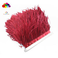 1/5/10 meter wine red Ostrich Feathers 8-15 cm/3-6 inch Fringe Ribbon Trim craft