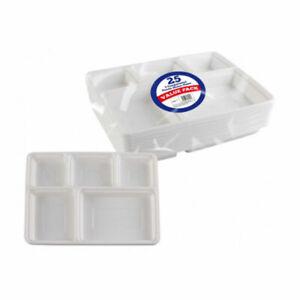 Plastic Plates Disposable 5 Compartment Rectangle Party Catering Plates X 25Pcs