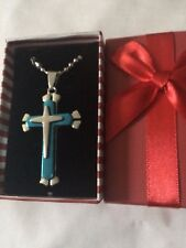 CROSS PENDANT on chain  BLUE AND SILVER  LARGE SIZE
