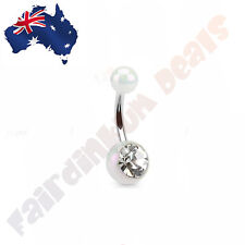 316L Surgical Steel White Metalic Coated Acrylic Ball with Gem Stone Belly Ring