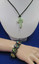 Cross Necklace Glow In Dark Religious Saints Hematite Stretch Bracelet Jewelry