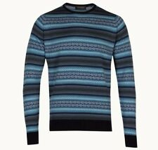 John Smedley England XL Midnight Planet Fairisle Wool Pullover Jumper BNWT