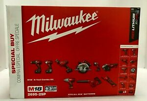 Milwaukee 9-Piece Combo Tool Kit M18 18-Volt Lithium-Ion Cordless 2695-29p