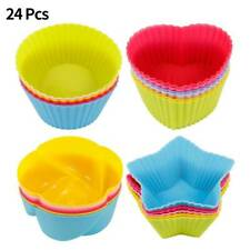 24X Silicone Cup Cake Muffin Chocolate Cupcake Cases Baking Cup Cookie Mould New