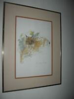 """""""Lynx Lynx"""" Watercolor Print Signed Mads Stage Danish Artist Framed 18""""x14"""""""