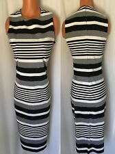 CALVIN KLEIN GRAY / CHARCOAL/ IVORY STRIPE SLEEVELESS DRESS SIZE 4 NEW WITH TAG