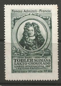 Switzerland TOBLER Chocolate advertising stamp/label (Famous Admirals #399)