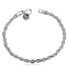925 sterling Solid silver Plated bracelet Flash twisted rope Bracelets #246