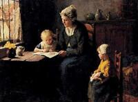 Classic Oil painting The Afternoon Lesson - Young mother with children canvas