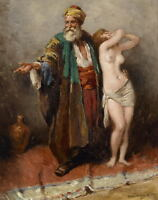 Wonderful Oil painting Arabs Slave market - elder with young girl canvas