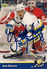 Igor Korolev St Louis Blues 92-93 UD Young Guns Hand Signed Card