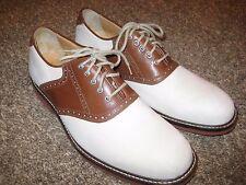 JOHNSTON & MURPHY Sheepskin Oxford Saddle Men's Shoe Brown/White Size 10.5M