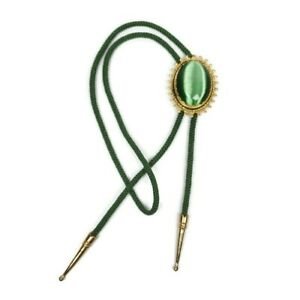 Womens Mens Bolo Necktie Green Cats Eye Faux Gold Tips Braided Rope Western Boho