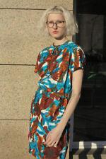 Abito da Donna 60er True Vintage Woman Dress Flower Power Blu Turchese