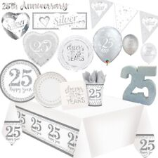 25th Silver Wedding Anniversary Party Supplies Tableware, Decorations & Balloons