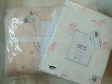 Pottery Barn Rainbow Unicorn Quilt Twin & Unicorn Sheet Set Twin Pink #1770