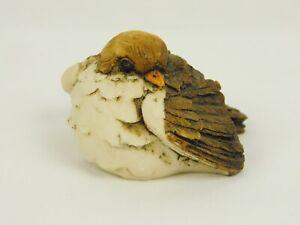 Vintage Resin Bird Figurine Brown White Artefice Ottanta D. Esposito 1981 Italy