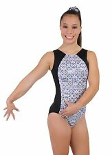 New! Bizarre Black, White, Silver Gymnastics Leotard by Snowflake Designs