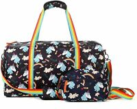 Kemy's Unicorn Rainbow Duffle Carry On Tote Bag Black Rainbow Zippered NWT Girls