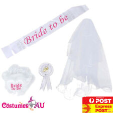Ladies Hens Night Party Bride to Be White Sashes Badge Garter Veil Costume Set