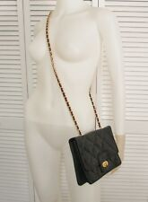 Giani Bernini Black Leather Croc Crocodile Classic Shoulder Bag Gold Chain Purse