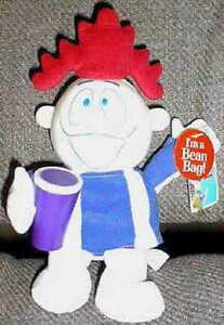 "MR. HAWAIIAN PUNCH Holding PURPLE DRINK 10"" BEAN BAG 1990s Corporate Mascot MWMT"