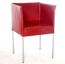"""Sessel, Besprechungsstuhl """"KFF"""" Echtleder, rot, gebrauchte Büromöbel"""