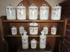 VINTAGE 25 PIECE GERMAN MADE PORCELAIN LUSTREWARE KITCHEN CANISTER SET #325