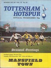 Football Programme - Tottenham Hotspur v Mansfield Town - Div 2 - 27/12/1977