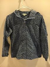 Lands' End Kids Girl's Packable Hooded Jacket Windbreaker Blue Sz L 14 D1