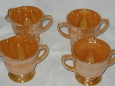Fire King Laurel Leaf Peach Luster 2 sets Sugar and Creamer Made in USA
