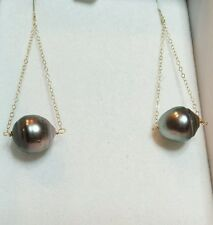 14k solid gold Peacock black gray Tahitian pearl dangle long earrings