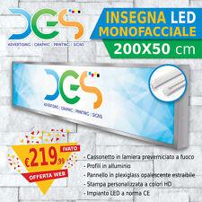 INSEGNA monofacciale LUMINOSA LED 200x50 cm, STAMPA PERSONALIZZATA negozio store