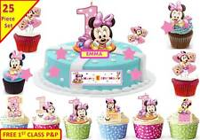 Girls Minnie Mouse 1st Birthday Cup Cake Scene Toppers Wafer Edible STAND UP