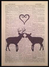 Hirsch Reh Herz Motiv Vintage Wörterbuch Seite Wandkunst Bild Liebe Tiere
