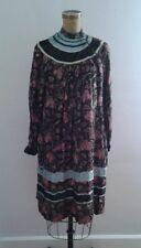 Mayagor India Hippie Vintage 1970's Dress Black w Pink Flowers Velvet