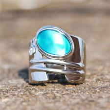 Fashion 925 Silver Geometric Enamel Wedding Rings Big Wide Rings Jewelry Size Q
