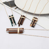 Tortoise Shell and Wood Stacked Bar Pendant Long Necklace for Women Jewelry