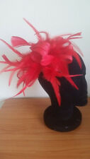 STUNNING RED SINAMAY FASCINATOR WITH FEATHERS, CRYSTALS & LOOPS, SPRING RACING