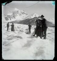 Suisse Ghiacciaio Roseg Foto Negativo Placca Da Lente Rotto c1900