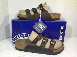 Birkenstock Womens Size 8 EU 39 Florida Habana Waxy Leather Slides ZB6-1663