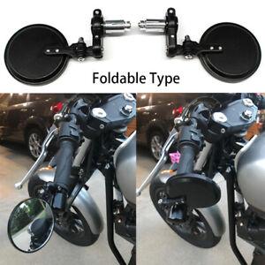 "2x Motorcycle 7/8"" Foldable Bar End Side Mirrors For Bobber Cafe Racer Scrambler"