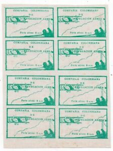 1920 COLOMBIA SC# C11, 10c GREEN MINT BLOCK OF 8 STAMPS $2325.00
