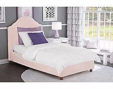 Twin Bed Frame Set Girls Kids Pink Upholstered Platform Bedroom Furniture Child