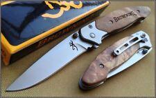 Couteau Browning Chasse Pêche Randonnée Manche Bois Lame Acier Inox BR141