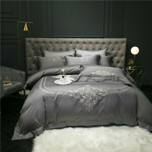 Luxury Silver Gray Embroidery Duvet Cover 1000TC Egyptian Cotton Bedding Set New