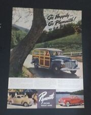 Original 1941 Print Ad Go Happily Go PLYMOUTH Auto Vintage Builds Great Cars