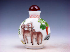 White Enamel Glass Lovely Deer & Trees Hand Painted Snuff Bottle #03142022