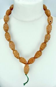 """ANTIQUE 1850-70 - CHINESE CARVED NUT BUDDHA HEAD NECKLACE - 24"""" / 61cm - 73gram"""
