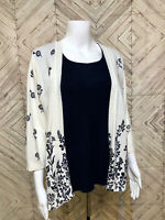 Eccobay White Navy Blue Open Front Floral Cardigan Sweater With Vest Womens XL